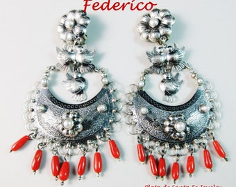Federico~Huge/Pronounced~Dove/Coral/ Pearl~925~Dangle CLIP Oaxaca Earrings~Free Shipping
