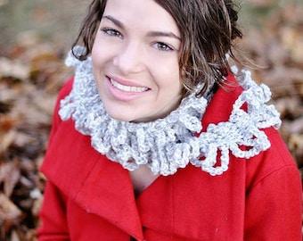 Crocheted Loopy Scarf Grey Flecked Women's  Teen's Accessory, Scarf Wrap Shawl