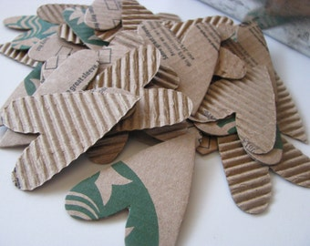 I Heart Coffee - Set of 36 Corrugated Cardboard Hearts, Upcycled, Recycled, Card Making, Planners, Snail Mail, PL, Project Life, Art Journal