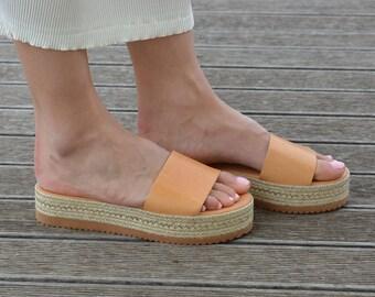 Greek Leather Slides Sandals | Espadrille Platform Sandals | Open Toe Flat Sandals | Leather Slide Sandals ''Emily''