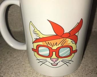 Hipster Cat Coffee Mug, Cat Lover Coffee Mug, Gifts For Her, Cute Coffee mug, Modern Mug, Cat Mom Coffee cup, Funny Coffee Mug, Cat Mom Gift