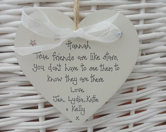 Best/special friends are like stars keepsake shabby heart  personalised wood10cm