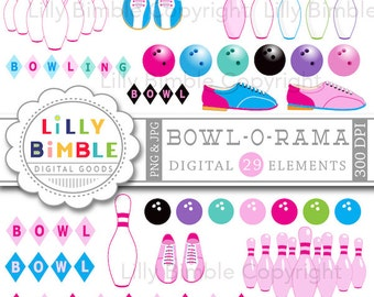 BOWLING clipart 29 bowling images in pink including pins, balls, shoes, girls, bowl birthday party Instant Download
