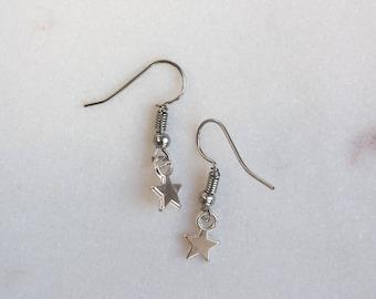 Star Earrings, Miniature Star Earrings, Tiny Star Earrings, Star Drop Earrings