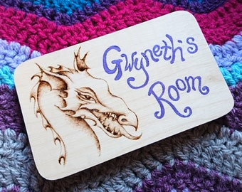 Personalised pyrography door plaque - kids dragon theme door sign, name plate, custom, personalized, childrens bedroom, woodburning, nursery