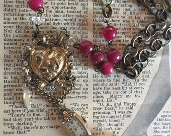 About Time and Garnets, Vintage Assemblage Necklace, Upcycled, Repurposed Jewelry, Steampunk, Boho