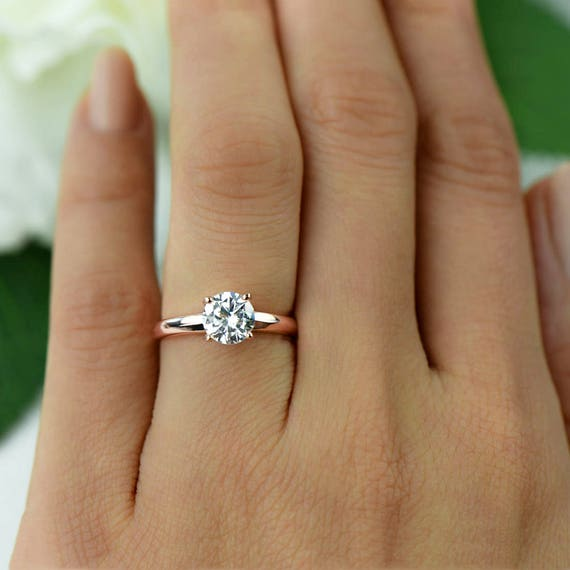 1 ct Low Profile Wide Solitaire Engagement Ring Man Made