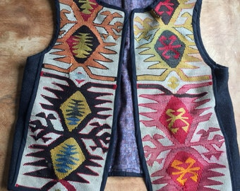 Vintage Vest, Turkish Textile, Anatolia, Handwoven, Handloom, Traditional Turkish Rug, Wool Vest, Primitive Textile, Antique OSFM Large Plus