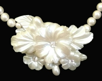 After Life Accessories: Vintage Pearl Flower Rhinestone Necklace