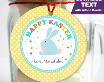 Editable Printable Easter Tag , Party Favor Sticker, Cute Some-Bunny Special Tag, Round or Square Topper, Instant Download -D856