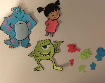 Set of 3 Monsters Inc Character Die cuts including Sulley, Mike and Boo with Character Confetti