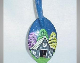 Enamel Blue Hand Painted Metal Spoon