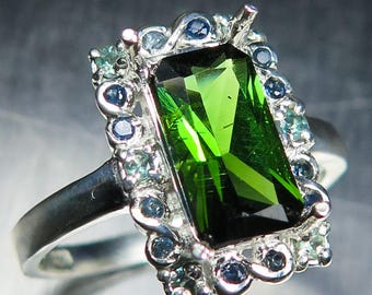 2.30cts Natural chrome green tourmaline & sapphires 925 Sterling Silver / 9ct 14k 18k yellow white rose red Gold engagement ring all sizes