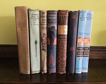 Vintage Books Shelf Decor Books Decorative Books Antique Book Old Book Boys Room Horatio Alger Set of Books Vintage Book Lover Gift Book Set