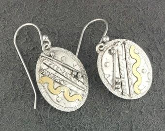 One of a kind Handmade Dangle Earrings- Sterling Silver 22k Gold Jewelry- Oval Metalwork Silversmith Jewellery- Everyday Handmade w Ear Hook