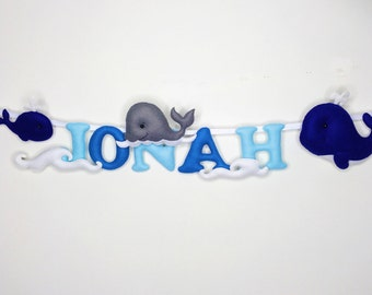 Whales Name Banner-Name Garland- Personalised Name Banner- Nursery Decor - Wall Decor
