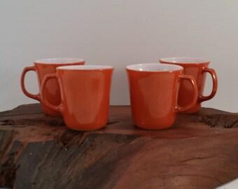 Vintage Milk Glass Burnt Orange Pyrex Mugs , Pyrex signed Rust Milk Glass Set of 4 Mugs, Retro 1970's Burnt Orange Milk Glass Coffee Mugs