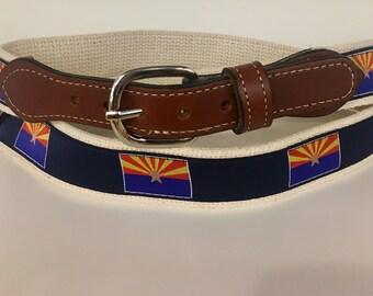 State Flag of Arizonia Men's  Web Leather Belt