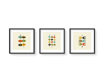 Mid Century Set no.5 - Square Version - Collection of (3) Giclee Prints - Abstract Mid Century Modern