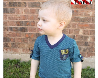 Deep Sea V Neck Shirt Sewing PDF Pattern Sizes 3months to 14 For Boys or Girls- Modern and Stylish