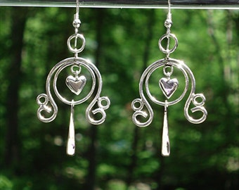 """Heart Earrings - Sterling Silver """"French Wires"""" -  Item:CHE"""