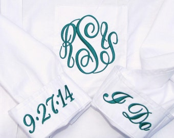 Personalized Bride Wedding Shirt - Monogrammed Button Down Bridal Party Shirt