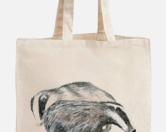Eco friendly shopping bag with two friendly badgers