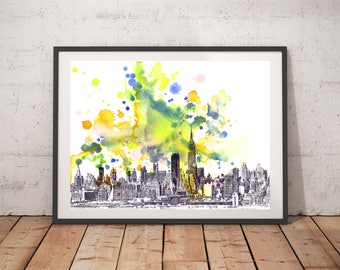 New York Skyline Art From Original Watercolor Painting 13x19 in New York Painting Wall Art Print