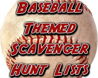 Baseball Themed Scavenger Hunt List Collection
