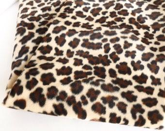 Animal Print Plush Velboa Fabric Destash Brown and Black Leopard Spots on Cream