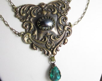 Emerald Green Envy Necklace - Vintage Brass Stamping, Apatite and Hematite Necklace