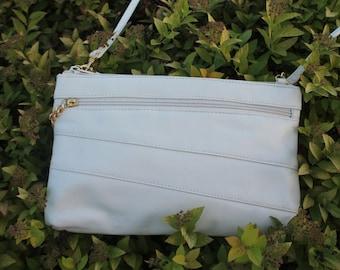 Leather Purse / Handbag / Clutch in Cream / Ivory Leather