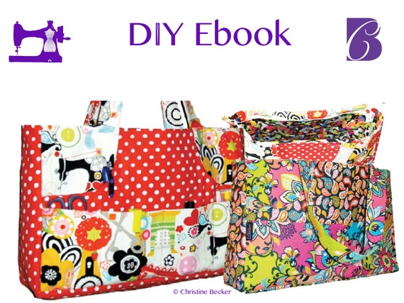 2 sizes, PDF Ebook Tutorial and Pattern Bag Jenny with Zipper, Shopper