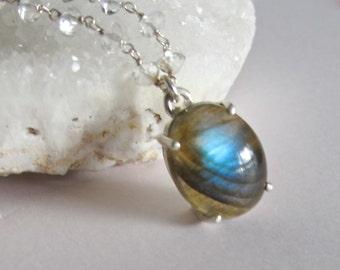 Oval Labradorite Beaded Necklace- Unique Smooth Gemstone Necklace- Bridal Wedding Necklace- Blue Labradorite OOAK Necklace