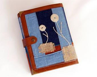 Denim collage planner binder/ organiser/ A5 planner binder/ A5 planner cover /denim planner cover