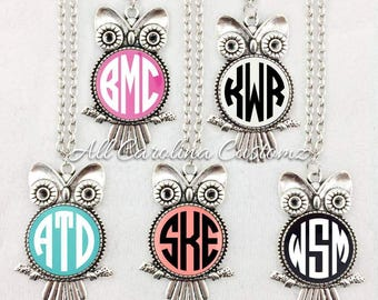 Monogrammed Owl Necklace