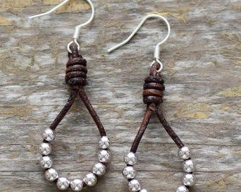 Leather Earrings  Silver  beads Earrings Dangle Earrings Handmade Earrings Hippie Earrings Statement Earrings Gifts for Her