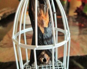 My Pet Bat in White Metal Cage - SHIP FREE