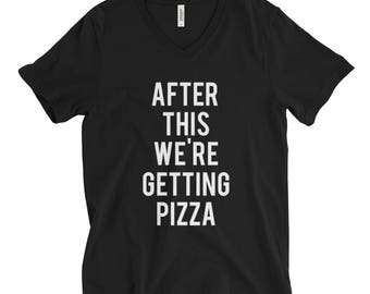 """RESERVED: 7 VNECK T-shirts """"After This We're Getting Pizza"""" Black Shirt - Bridal Party Getting Ready Outfit - Bride robe"""