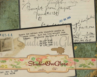 Vintage Art Gallery Inventory Cards, 8 Trading Cards, Digital Collage Sheet, Antique Paper, Decoupage, Hang Tag,Scrapbook,Junk Journal 17042