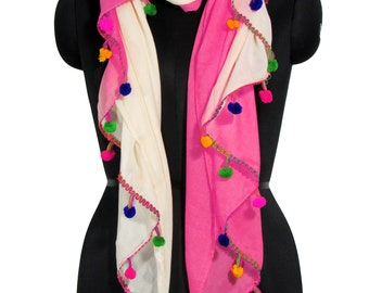 Fabtone Pom pom Cotton polyester Long Scarf for women's