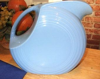 Fiesta Pitcher, Fiestaware, Vintage Blue Pitcher,Homer Laughlin Fiestaware,  Vintage Periwinkle Blue Disc 64 oz. Pitcher