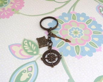 Bronze Compass, Suitcase and Arrow Keychain/Wonderlust Keychain/Nautical Keychain/Travel Keychain/Travellers Gift