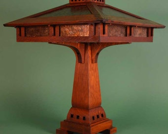 Mission Arts and Crafts Prairie Craftsman Table Lamp with Mica Shade Panels