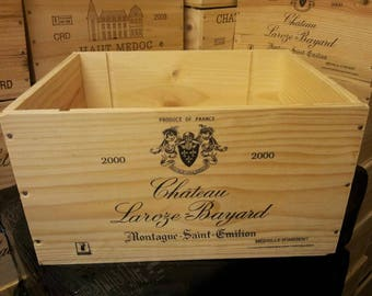 3 x Mixed FRENCH WINE BOXES Used wooden crates - Storage solutions hampers shabby chic - Champange / Port Boxes