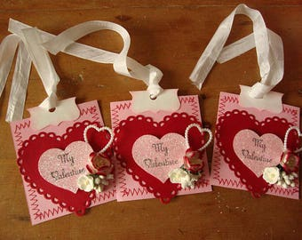 Valentine's Day tags embellishments package ties glitter hearts My Valentine party favor tags pink hearts gift wrap