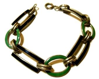 Sterling Silver and Enamel Vintage Link Bracelet.