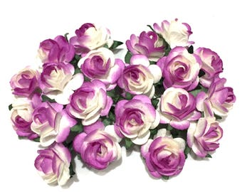 Purple And White Open Mulberry Paper Roses Or038