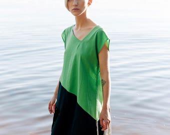 Linen dress Mitahara, Green and Black dress, dress-meditation, short dress, yoga dress, boho dress