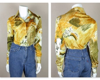 Vintage 1970s Western / Disco Shirt, Blouse / Miller Western Wear, Denver / Horse Equestrian, Cyrc, Circus, Orange, Wide Collar, Pearl Snaps